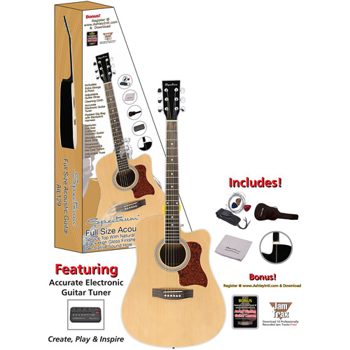 "Spectrum 41"" AIL-129 Full Size Cutaway Acoustic Guitar, Black and Spruce"