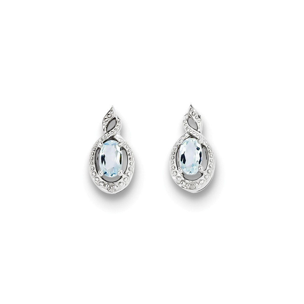 Sterling Silver 0.5IN Long Aquamarine & Diamond Earrings