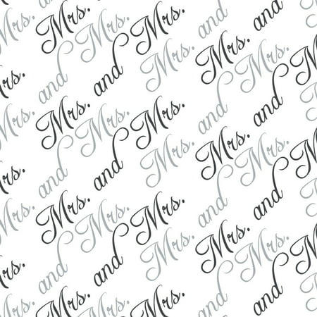 Anniversary Wedding Gift Wrap - Mrs. and Mrs. Black White Gay Wedding Premium Gift Wrap Wrapping Paper Roll