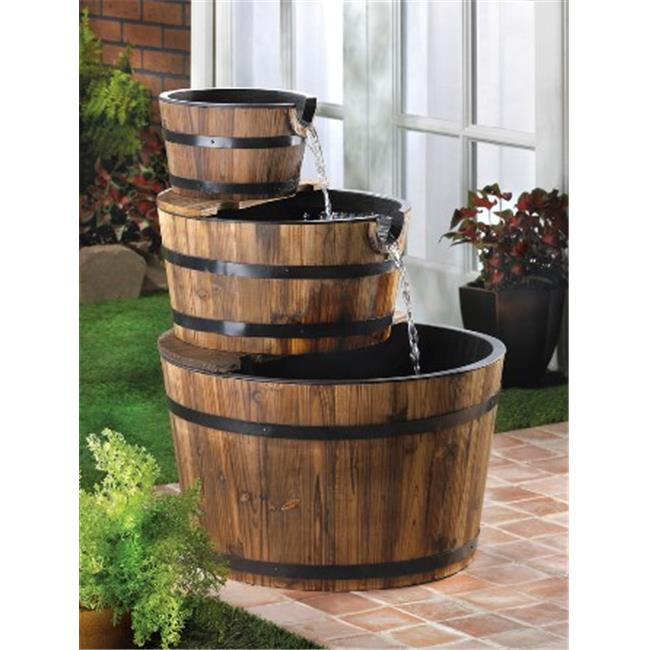 Zingz & Thingz 57070013 Rustic Look Whiskey Barrel Cascading Waterfall Fountain by Zingz & Thingz