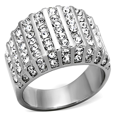 2.75 Ct Round Cut Crystal Stainless Steel Wide Band Fashion Ring Women