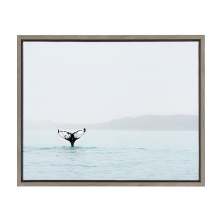 Kate and Laurel - Sylvie Whale Tail in the Ocean Color Photography Framed Canvas Digital Wall Art by Amy Peterson, Gray 18 x