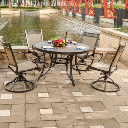 Superb Dali 5 Piece Outdoor Dining Set Patio Furniture Aluminum Swivel Rocker Chair Sling Chair Set With 48 Inch Round Crafttech Top Aluminum Table Gmtry Best Dining Table And Chair Ideas Images Gmtryco