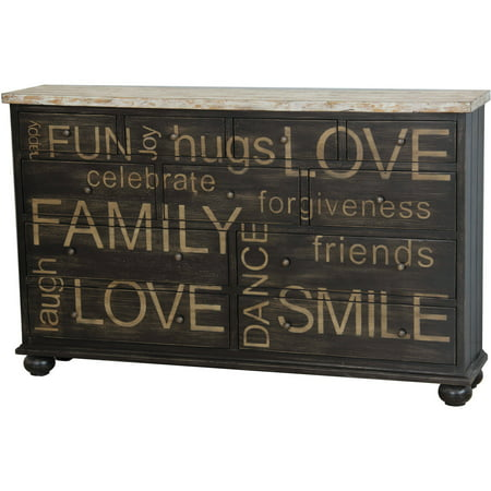 Home Meridian 2-Tone Words Drawer Credenza (Credenza Console)