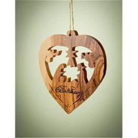 Earthwood 166705 Olive Wood Ornament - Heart with Nativity - 2.5 in.