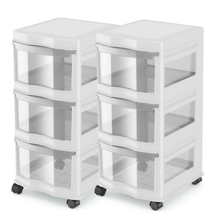 Life Story Classic 3 Shelf Storage Organizer Plastic Drawers, White (2 Pack)