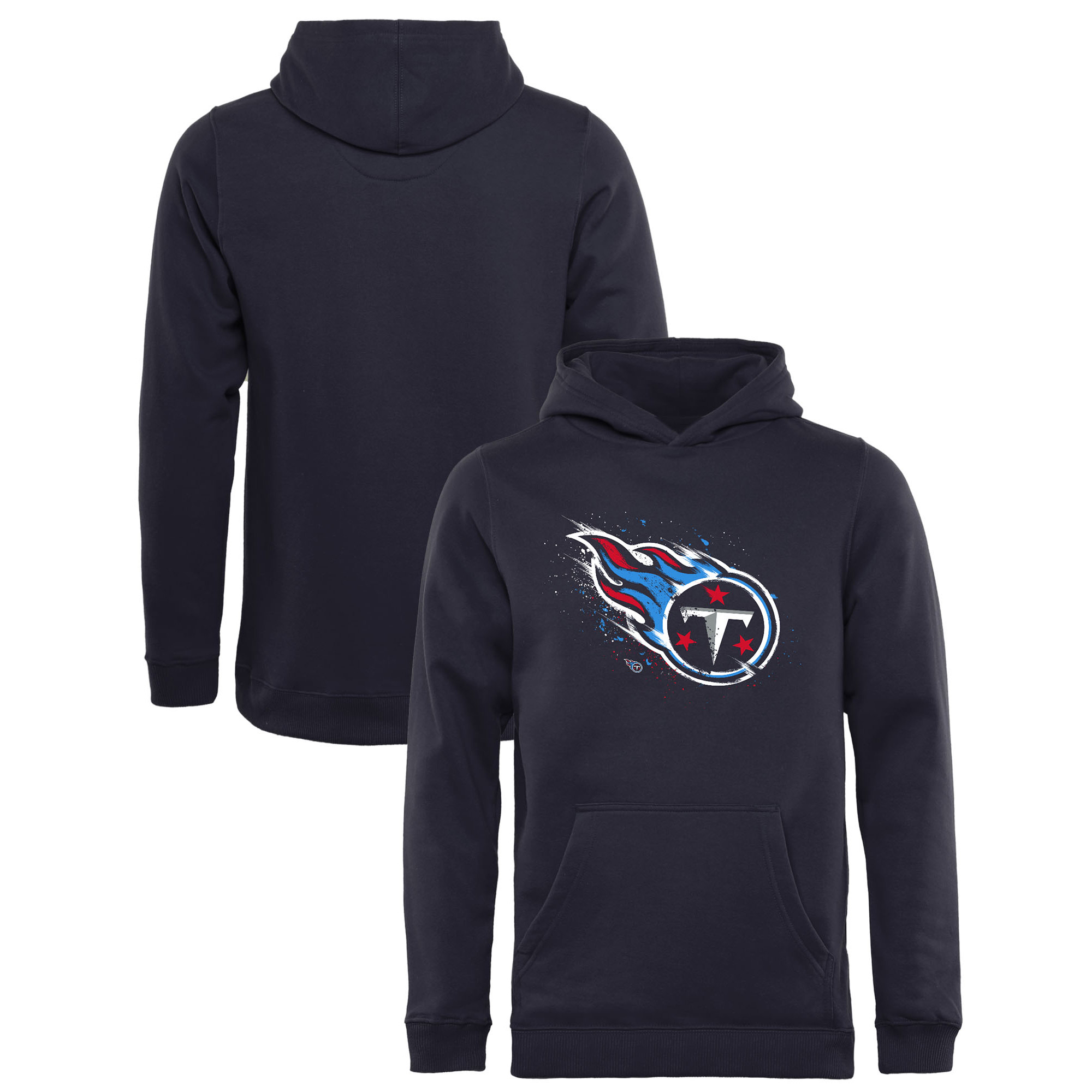 Tennessee Titans NFL Pro Line by Fanatics Branded Youth Splatter Logo Pullover Hoodie - Navy