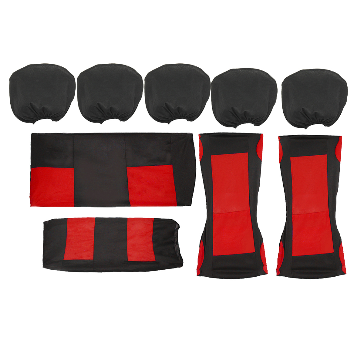 9Pcs Universal Auto Car Front Seat Cover Full Set Protector + Rear Seat Headrests