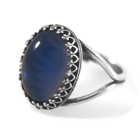 Mood Ring With Split Band Antiqued Filigree Setting Adjustable Size