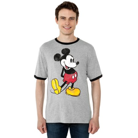 Men's Mickey Mouse Retro Ringer T-Shirt Short Sleeve (Gray Ringer)