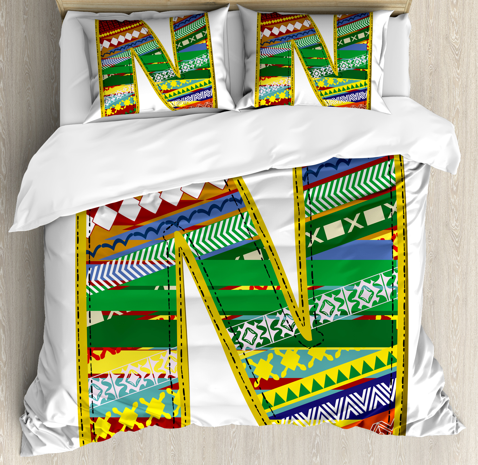 Letter N King Size Duvet Cover Set, N Letter with Yellow ...