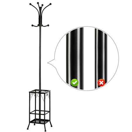 - Coat Hat Rack with Umbrella Stand, Hall Tree Hangers 8 Hook Solid Base
