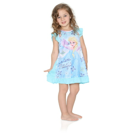 Disney Frozen Little Girls Toddler Blue Nightgown, Magic, Size: - Girls Nightgown Cotton