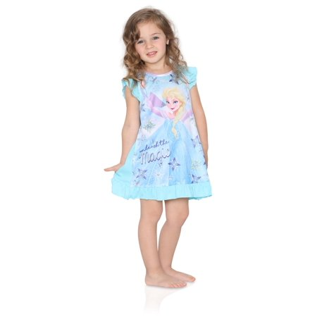 Disney Frozen Little Girls Toddler Blue Nightgown, Magic, Size: - Christmas Nightgowns For Toddlers