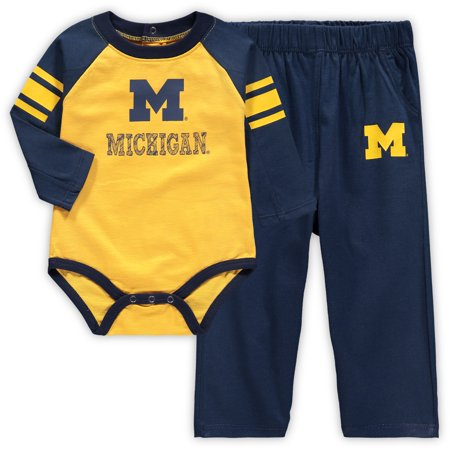 Michigan Wolverines Newborn Future Starter Long Sleeve Bodysuit and Pants Set - Maize/Navy](Wolverine Outfits)