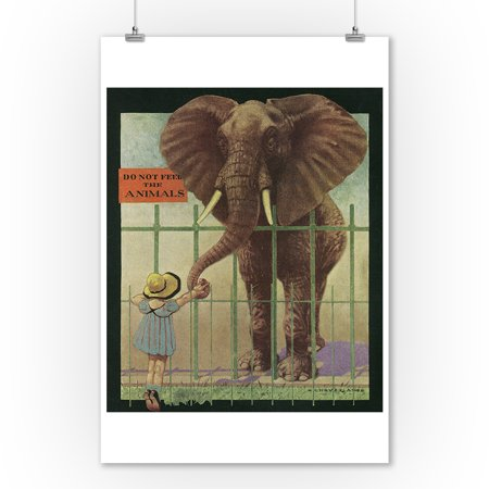 Nature Magazine - Little Girl Feeding Elephant; Do Not Feed Animals Sign (9x12 Art Print, Wall Decor Travel Poster)](Animal Print Decor)