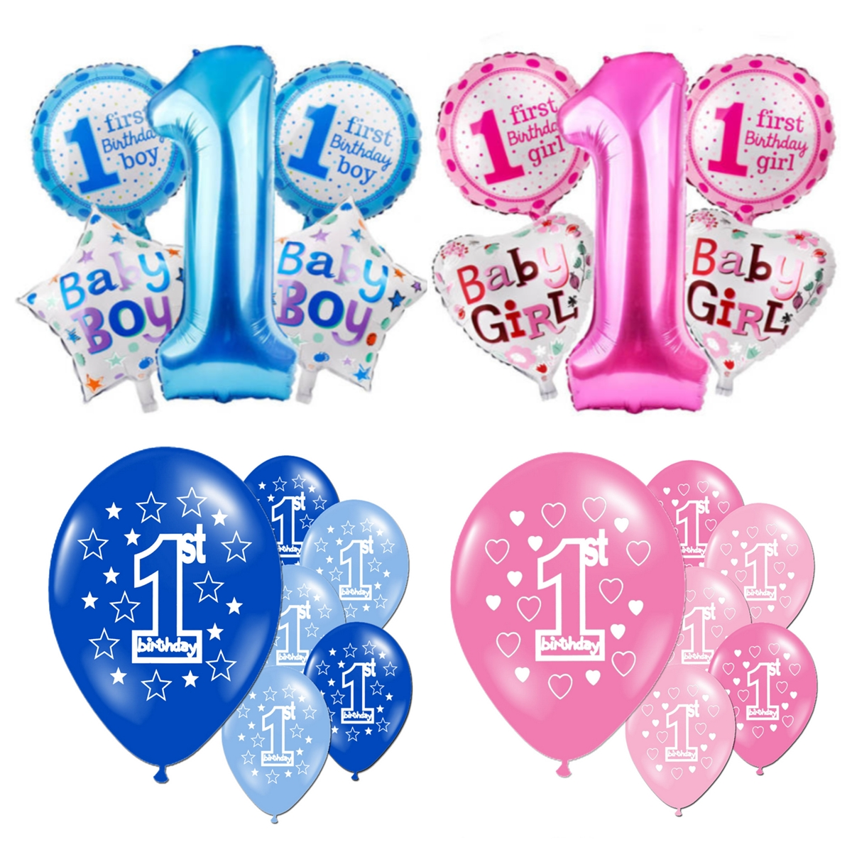 Happy Age 1st Birthday Balloon Helium Number Foil Balloons Baby Shower Party Decor
