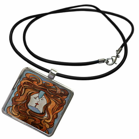 3dRose Lesbian Love LGBT themed artwork in an art nouveau style of two women kissing - Necklace with Pendant
