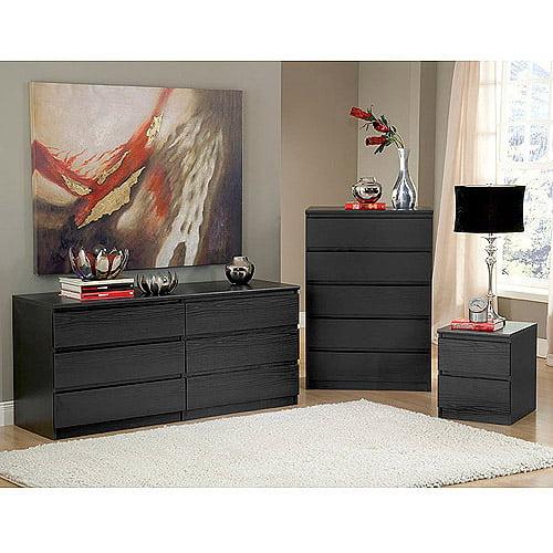 Laguna Double Dresser, 5-Drawer Chest and Nightstand Set, Black Woodgrain