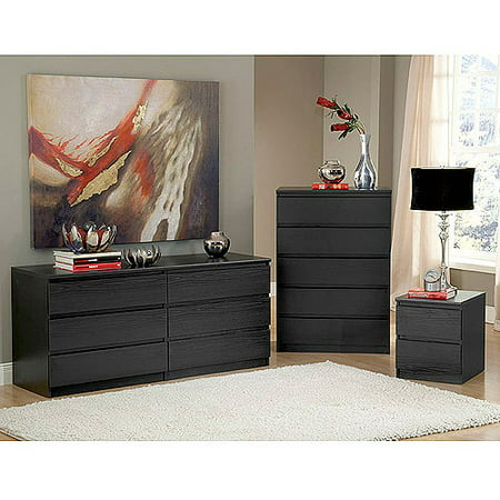 Laguna Double Dresser, 5-Drawer Chest and Nightstand Set, Black ...