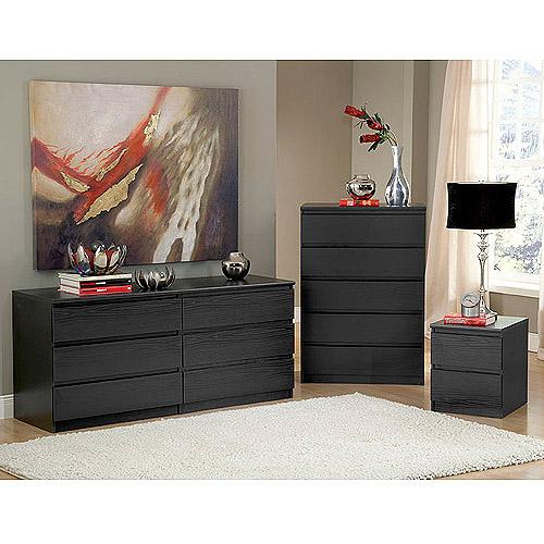 Elegant Laguna Double Dresser, 5 Drawer Chest And Nightstand Set, Black Woodgrain