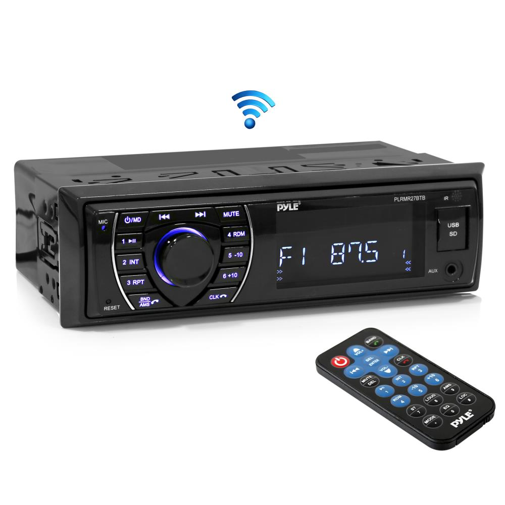 PYLE PLRMR27BTB - Bluetooth Marine Receiver Stereo - 12v Single DIN Style Boat in Dash Radio Receiver System with Digital LCD, RCA, MP3, USB, SD, AM FM Radio - Remote Control, Wiring Harness (Black)