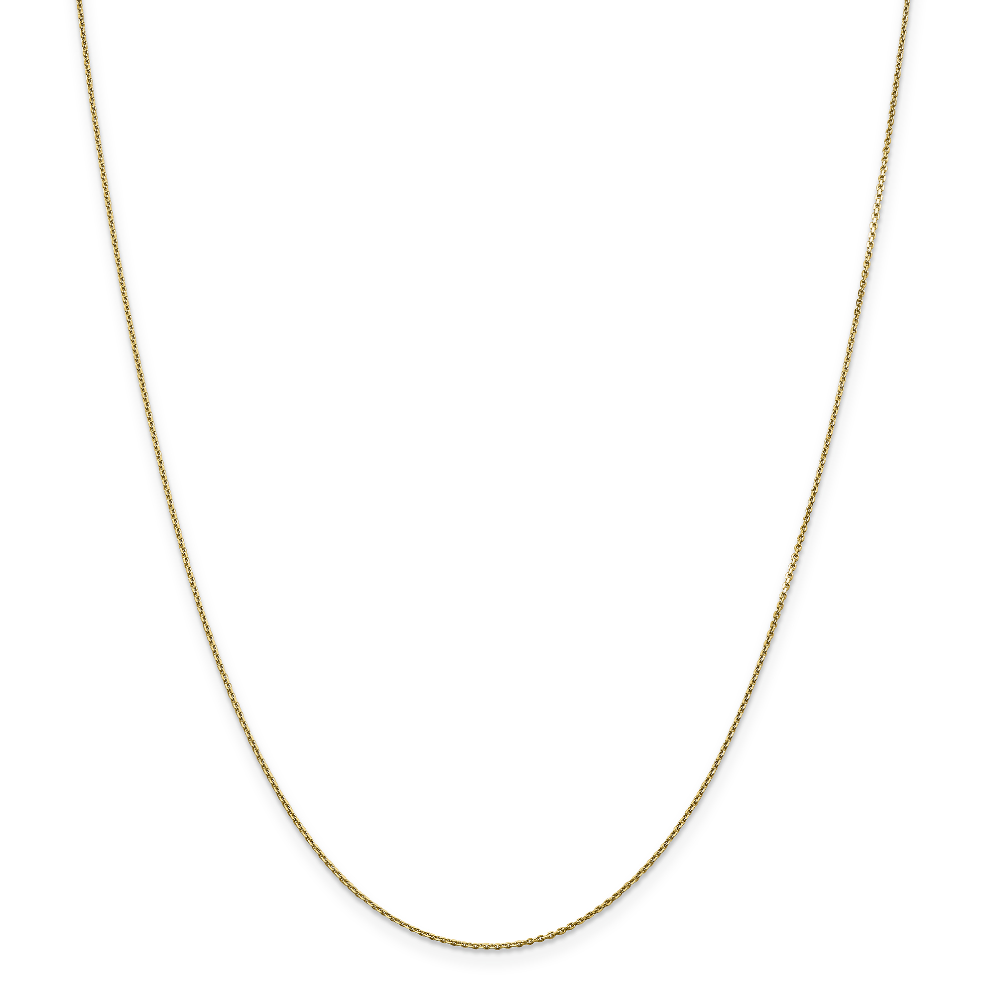 14k Yellow Gold .90mm Link Cable Chain Necklace 18 Inch Pendant Charm Round
