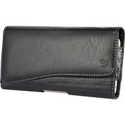 HTC Desire 530 - EXTRA LARGE Horizontal Leather Pouch Carrying Case Holster Belt Clip Magnetic Closure Fits - Black 2