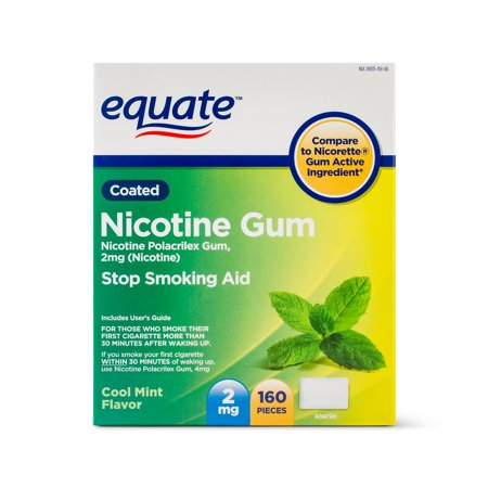Equate Coated Nicotine Gum, Cool Mint Flavor, 2 mg, 160