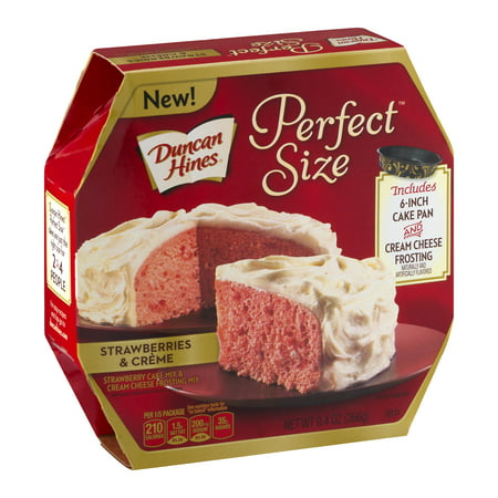 (2 pack) Duncan Hines Perfect Size Strawberries & Creme Cake Mix & Cream Cheese Frosting Mix, 9.4 oz