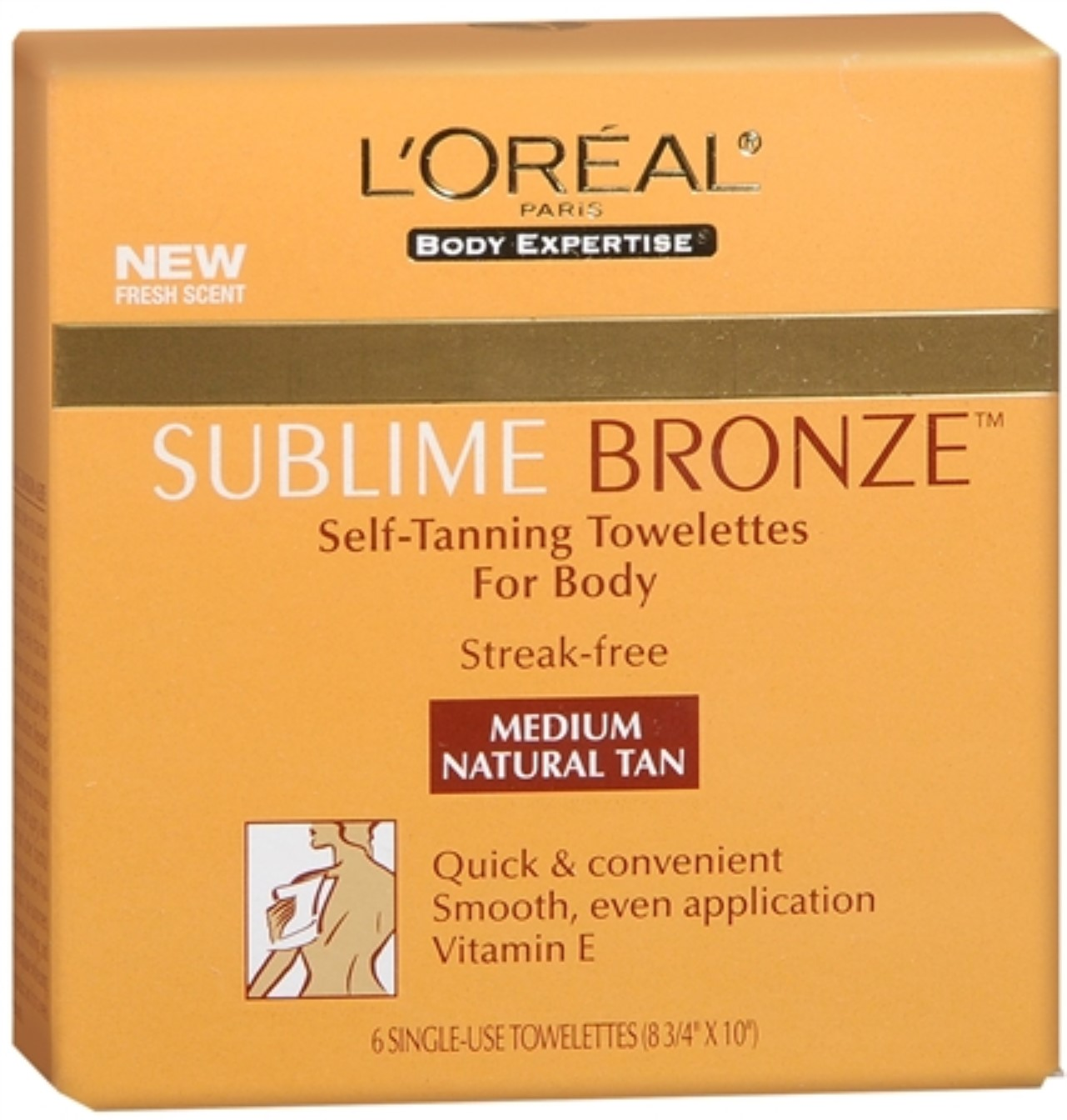 L'Oreal SUBLIME BRONZE Self-Tanning Towelettes For Body M...