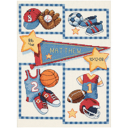 "Dimensions Baby Hugs ""Little Sports"" Birth Record Counted Cross Stitch Kit, 14ct, 9"" x 12"""