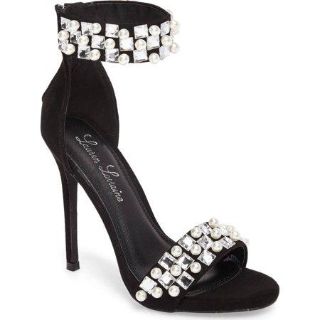 Lauren Lorraine Sizzle Black Pearl & Gem Embellished High Heel Two Peice Sandal