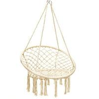 Costway Hanging Hammock Chair Macrame Swing Handwoven Cotton Backrest