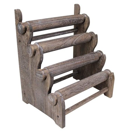 Wooden Keepsake Display Stand - Antique Wooden Four Tier Bar Jewelry Display
