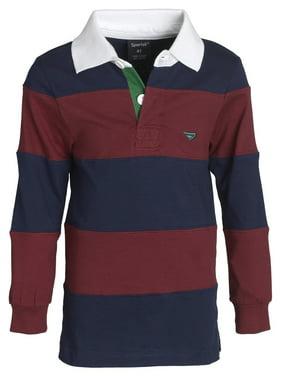 Sportoli Big Boys 100% Cotton Wide Striped Long Sleeve Polo Rugby Shirt - Burgundy (Size 12)