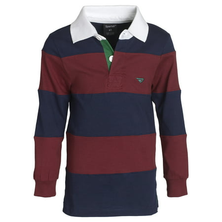 Sportoli Big Boys 100% Cotton Wide Striped Long Sleeve Polo Rugby Shirt - Burgundy (Size 12)