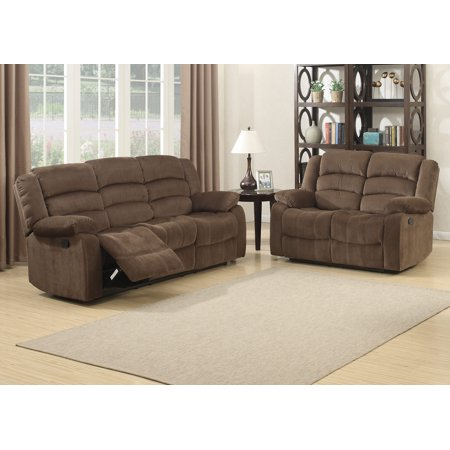 Bill Collection Contemporary 2-Piece Living Room Upholstery Sofa Set with 4 Recliners, Sofa & Loveseat Contemporary Living Room Set