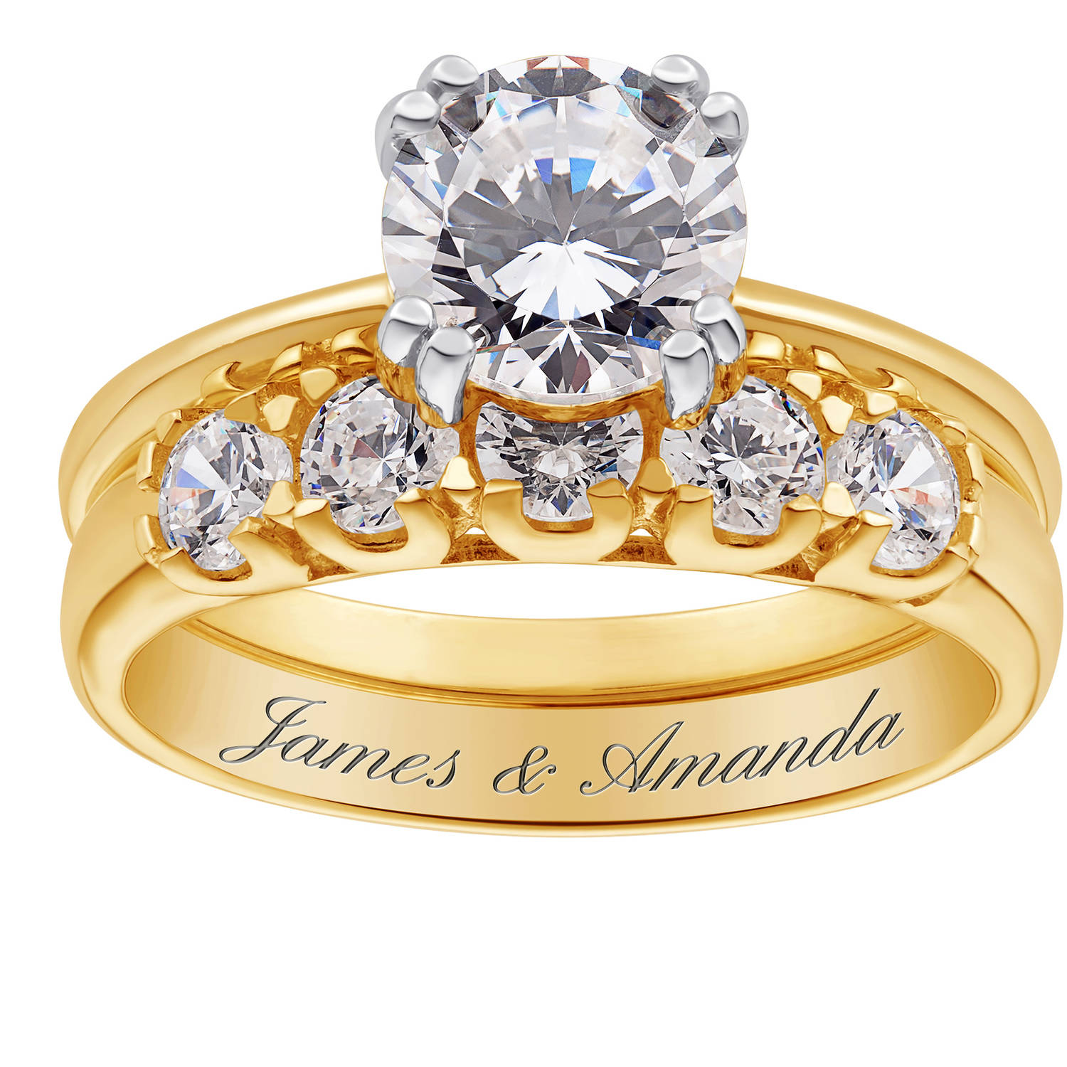 Personalized Gold over Sterling Silver 2-Piece CZ Engraved Wedding Ring Set