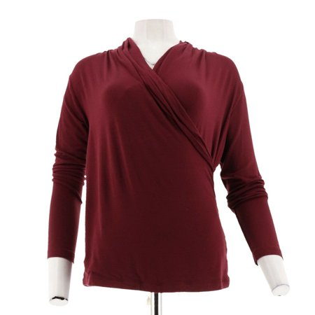 0c46c290f351a IMAN Runway Chic Luxurious Long-Slv Crossover Top 569-288 - Walmart.com