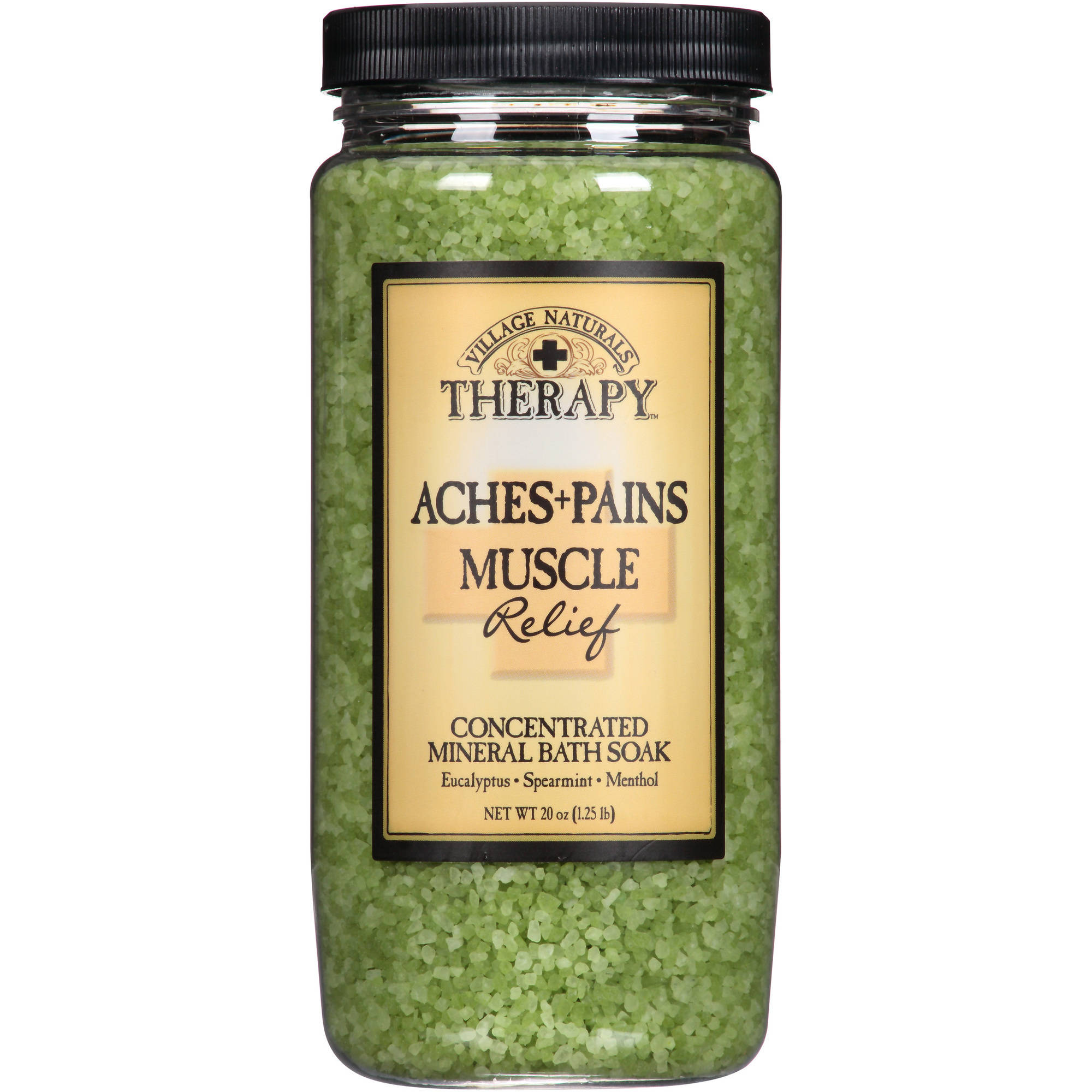 Village Naturals Therapy Aches & Pains Muscle Relief Concentrated Mineral Bath Soak, 20 fl oz
