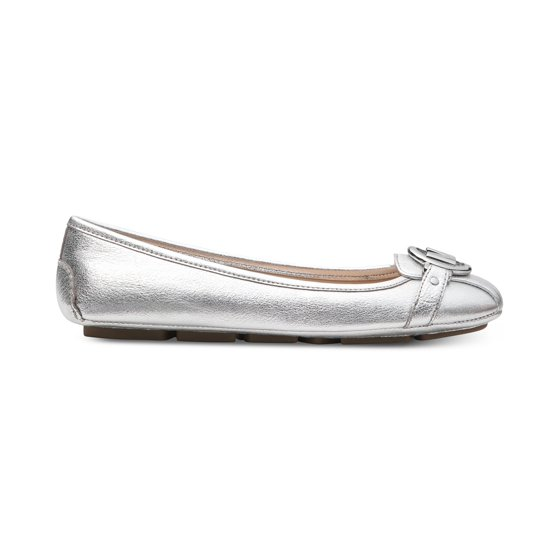 b50aad6d48e15 Michael Kors MK Women's Premium Designer Fulton Moccasin Flats Silver (8.5)