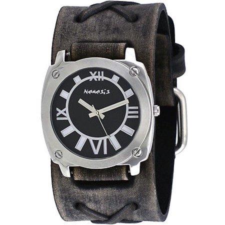 FXB066K Men's Dark Gray Black Dial Wide Leather Cuff Band Watch ()