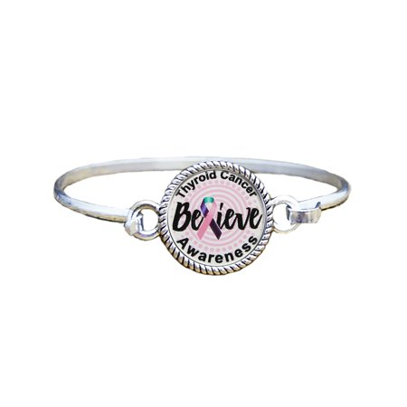 - Thyroid Cancer Awareness Believe Silver Plated Bracelet Jewelry