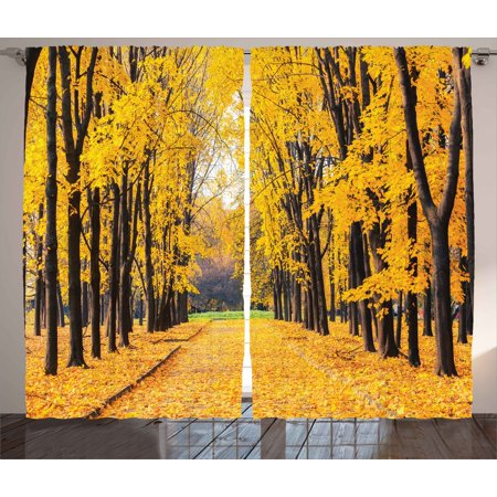 Nature Decor Curtains 2 Panels Set, Autumn Fall Trees Falls Dried Leaves Scenery on Road Path Photo Artwork , Window Drapes for Living Room Bedroom, 108W X 84L Inches, Yellow and Green, by Ambesonne ()