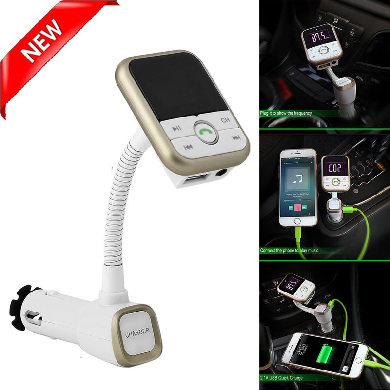 Wireless Bluetooth FM Transmitter MP3 Player Modulator USB SD LCD Car Kit Remote,Gold