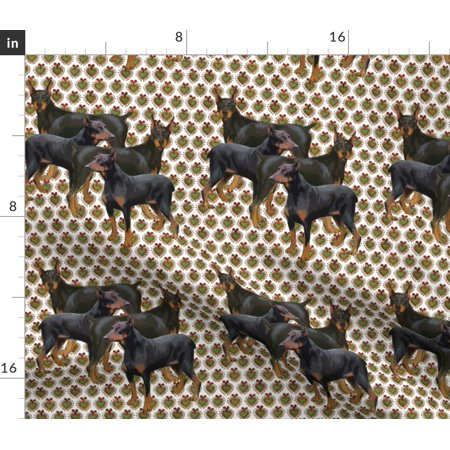 Doberman Animals Colorful Dog Pinscher Fabric Printed by Spoonflower B