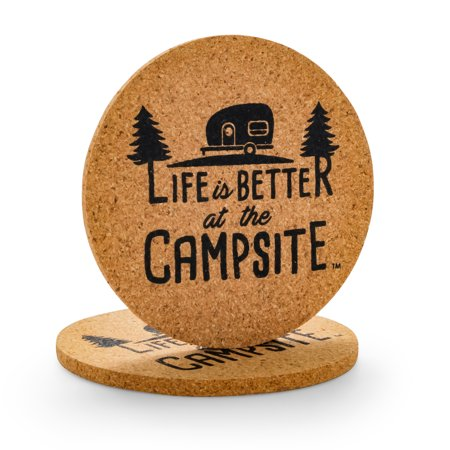 Camco Life is Better at The Campsite, Coasters, Cork, Retro RV (Lite Rv)