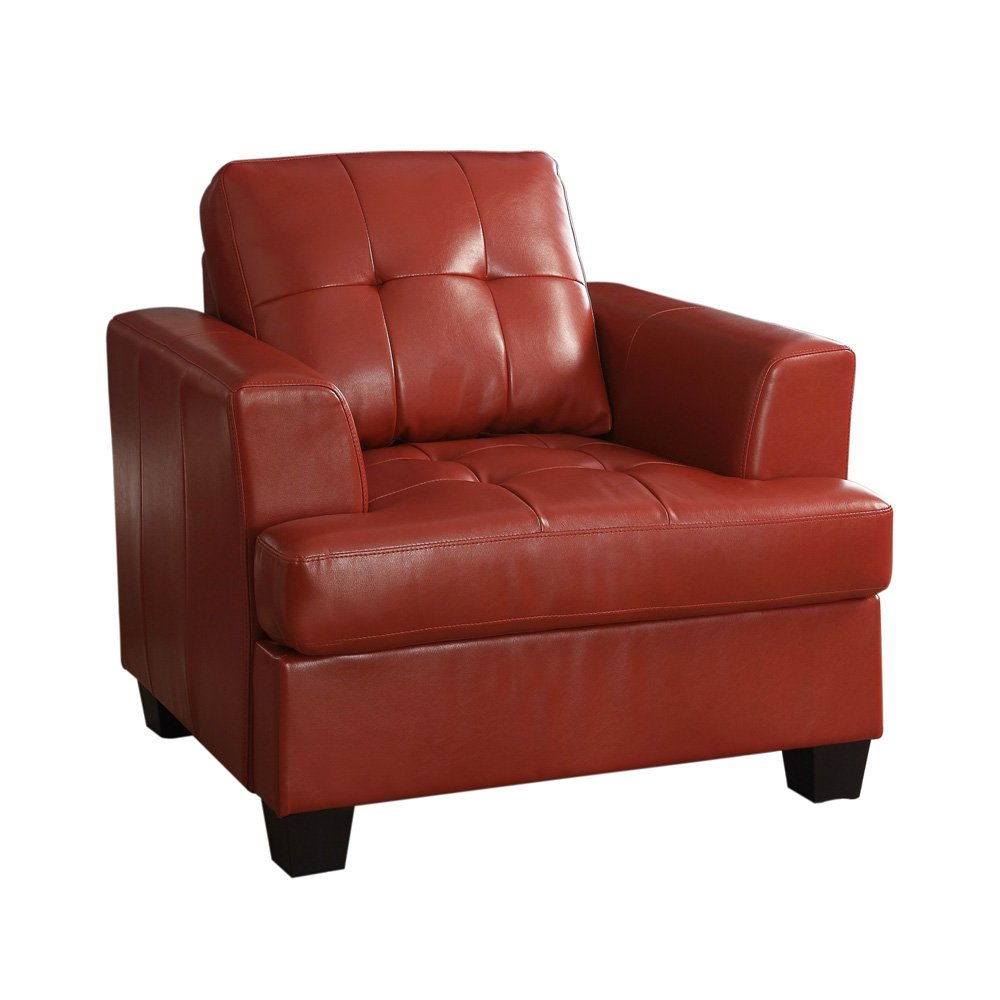 Keaton Bonded Leather Chair - Red