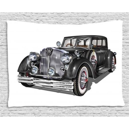 Old Hollywood Tapestry, Brand New Nostalgic American Classic Car Realistic Illustration, Wall Hanging for Bedroom Living Room Dorm Decor, 60W X 40L Inches, Charcoal Grey and Grey, by Ambesonne - Old Hollywood Themed Room